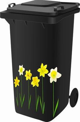 *Sticker Kit Für Abfalltonne Auf Rollen, Narzissen Design*