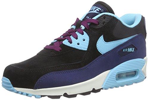 Nike Wmns Air Max 90 Lthr, Damen Sneakers, Mehrfarbig (400 Mid Navy/TD PL BL-BLK-MLBRRY), 38.5 EU (Nike Air Max 2015 Frauen Schuhe)
