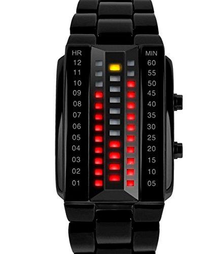 Diseño de moda SKMEI marca Militar deportes binario LED electrónico reloj 3ATM estudiantes pulsera relojes de pulsera Negro