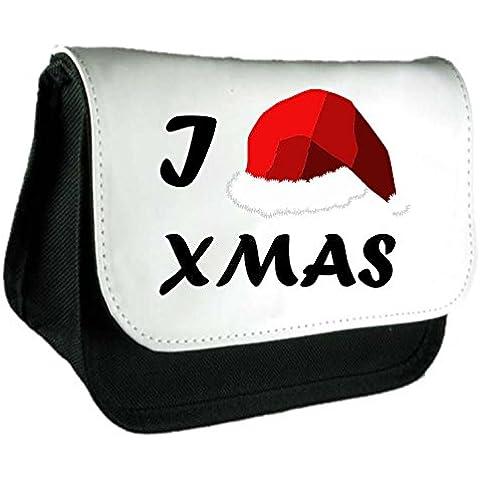 Cuore Love Natale Cappello di Babbo Natale, con Frizione Borsa o Astuccio Misura unica Black