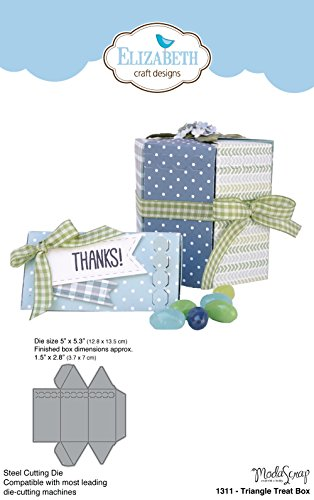 Elizabeth Craft Designs Triangle Treat Box sterben, Metall, grau, 25,8 x 14,5 x 0,2 cm (4x4 Behandeln-box)