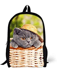 Mochila para Gatos Cute 3D Animal Denim Mochilas