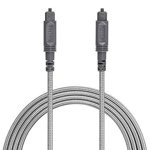 Optisches Audiokabel Toslink-Kabel - [Nylon Geflochtene Ummantelung, langlebig und flexibel] EMK Glasfaserkabel für Heimkino, Soundbar, TV, PS4, Xbox und Mehr 3 m