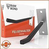 RAWBOND® Felgenhalter Wand zur Aufhängung für 4 Reifen - Wandhalterung, Reifenhalter inkl. Schrauben & Dübel - Halterung für Deine Autoreifen & Felgen in der Garage - Felgenhaken Halter mit eBook