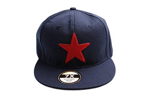 / Damen blaue Baseball Stil Kappe mit eingesticktem roten Stern (Billig Baseball-kappen)