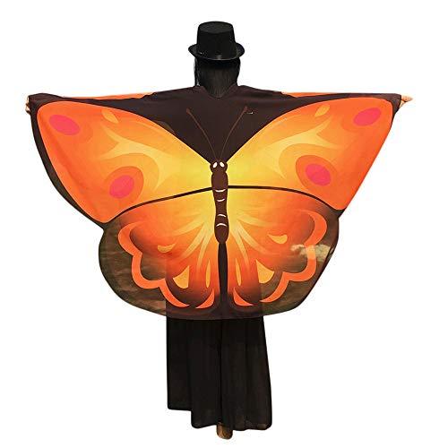 WOZOW Damen Schmetterling Schmetterlingsflügel Kostüm Faschingkostüme Poncho Schal Tuch Umhang für Party Cosplay Karneval Fasching (Orange Gelb)