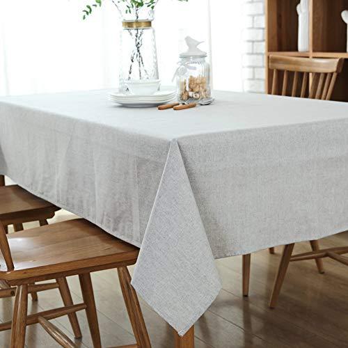 DOTBUY Tischdecke Garten, Volltonfarbe abwaschbar Tischtuch Baumwolle und Leinentischdecke Pflegeleicht Fleckschutz Farbe & Größe wählbar (130*250cm, Grau) - Quadratische Weiße Leinen Tischdecke