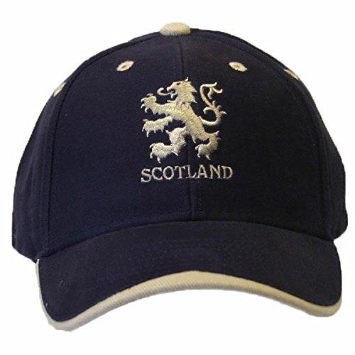 Baseball Kappe mit Scotland Löwen Logo Stickerei (One Size) (Marineblau/Weiß) -