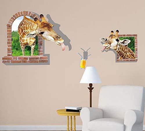 Dokfh Giraffe 3D Wandaufkleber Wohnzimmer Sofa Hintergrund Pvc Transparent Film Entfernen Wandaufkleber Dekoration Kind Wandbild