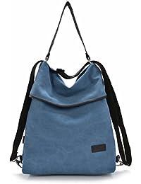 1c491a105dba3 DcSpring Damen Handtasche Canvas Schultertasche Rucksack Tasche Stoff  Vintage Retro Umhängetasche Groß Shopper Multifunktionale