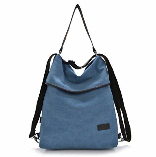 DcSpring Damen Handtasche Canvas Schultertasche Rucksack Tasche Stoff Vintage Retro Umhängetasche Groß Shopper Multifunktionale (Blau) -