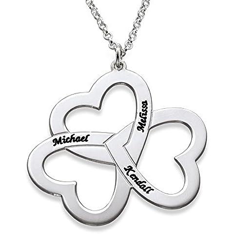 Personalised 3 con ciondolo a forma di cuore, in argento Sterling, con incisione personalizzata con qualsiasi nome personalizzabile, confezione regalo