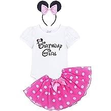 Freebily Disfraz de Fiesta para Bebé Niña (1-4 Años) Conjunto Vestido Infantil Pelele + Falda + Diadema Niña