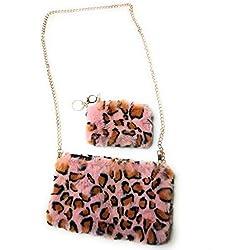 KGM Accessories - Juego de Bolsos de Piel sintética, Pink Leopard