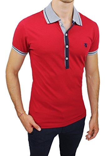 Maglia polo uomo WILLIAMS WILSON rosso maniche corte casual shirt in cotone (S)