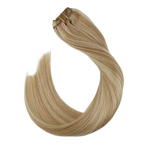 Ugeat 7pcs/120g Blond Clip in Extensions Echthaar Remy Haarverlangerung für Komplette Haar Blond Strahnchen Hair Extensions Clip in Human Hair Glatt 45 cm