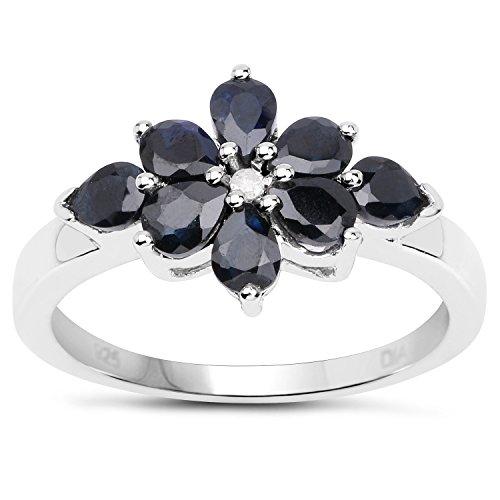 La Collection Bague de Saphir : la Bague de fiançailles en Argent avec les Saphir et le set en Diamants, Taille Bague 56