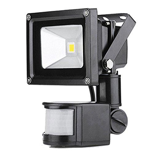 PrimLight 1 X 10W Warmes Weißes Strahler Außenlicht Fluter Flutlicht Sicherheits-Licht Energiesparendes Flutlicht mit PIR Bewegungs-Sensor Wasserdichtes IP65