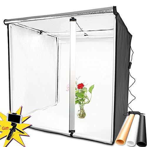 Wenhu Leuchtkasten 60 * 60CM tragbare Softbox Fotostudio LED Leuchtkasten mit DREI Farben Hintergrund für Tischplattenfotografie LED Studio 3 Portraits