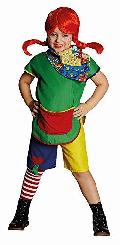 Perücke Wirbelwind, Größe 164, bunte/s Oberteil und Hose, mit roter Perücke mit 2 Zöpfen, Kinder Faschingskostüm (Rote Wirbelwind Kostüm)
