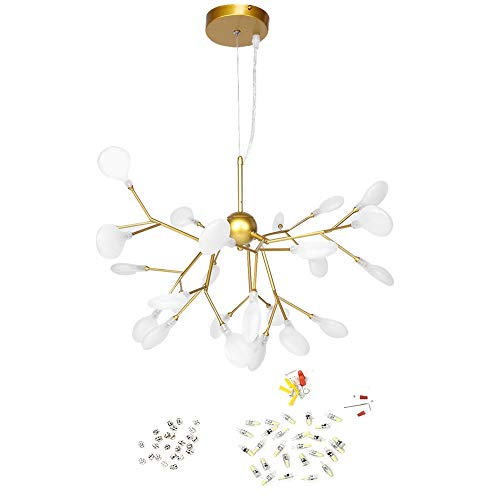 Zoternen Lámpara Colgante LED de Rama 40W Luz Moderna Colgante de Techo 27LED Altura Ajustable Lámpara de Decoración de Salón Comedor, Sala de Estar