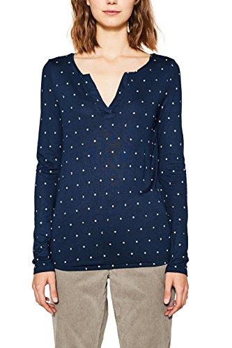 edc by Esprit, T-Shirt à Manches Longues Femme Bleu (Navy 400)