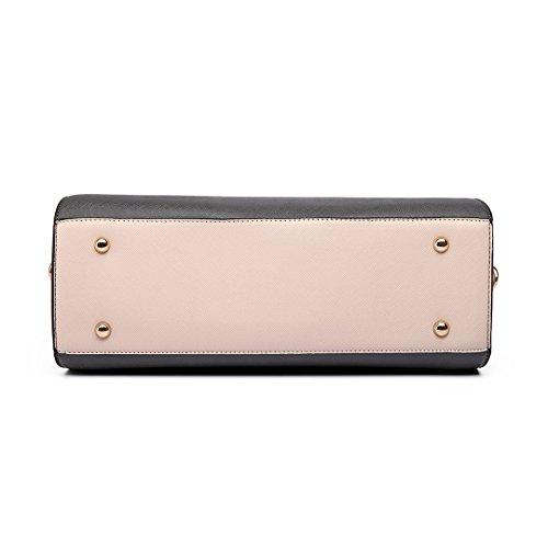Miss LuLu Handtasche Umhängetasche PU-Leder Damentasche Elegant Tasche in 9 Farbe LT6627-Grau/Pink