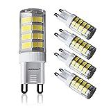 Lampaous 4-er LED Lampe 5W G9 LED-PIN Leuchte, errsatz für 40W Glühbirne, Kaltweiß 6000K 350LM 230VAC 360° Abstrahlwinkel LED Energiesparlampe Birne