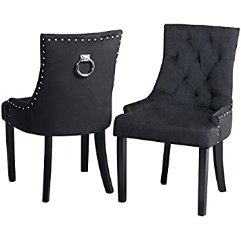 Pair Of Black Crushed Velvet Dining Chairs Back Ring
