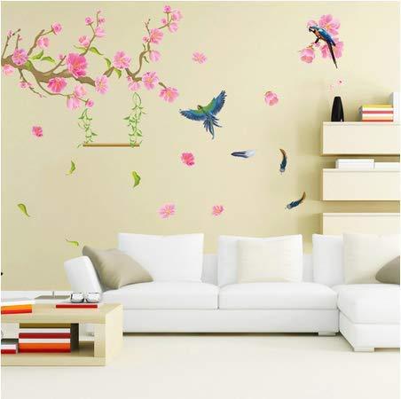 Spring Flying Birds Flowers Plane Wall Sticker Living Room Bedroom Office Dorm Mural Decals Waterproof Poster