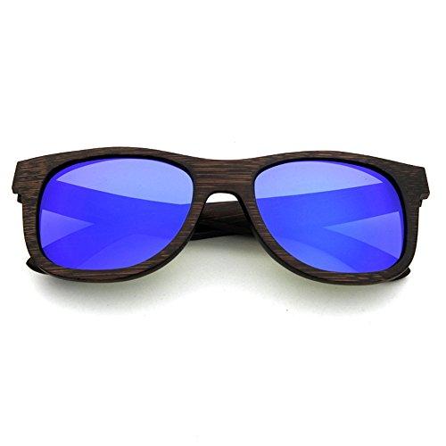 YuFLangel Unisex Retro Polarisierte Sonnenbrille Vintage handgemachte Holz Sonnenbrille farbigen Objektiv UV400 Schutz für Unisex-Erwachsene Unisex-Brille (Farbe : Blau)