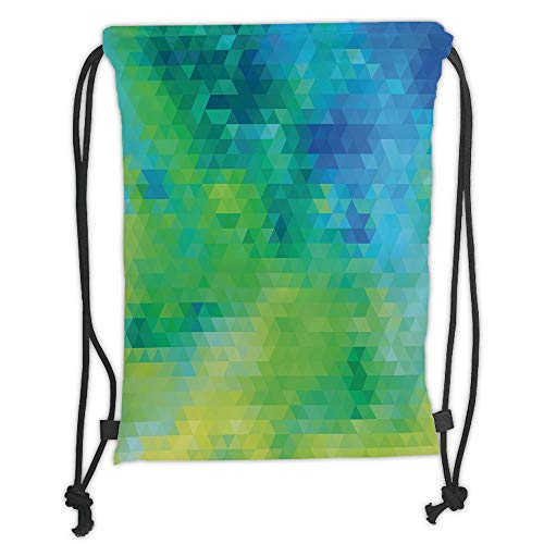 Fashion Printed Drawstring Backpacks Bags,Yellow and Blue,Geometric Abstract Pattern with Triangles Ombre Inspired Decorative,Turquoise Lime Green Yellow Soft Satin,5 Liter Capacity,Adjustable Str -