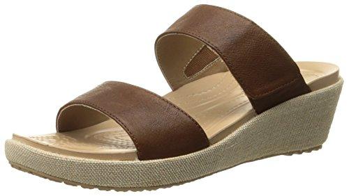 Crocs A-Leigh 2-Strap Mini Wedge Large Cuir Sandales Compensés Hazelnut/Chai
