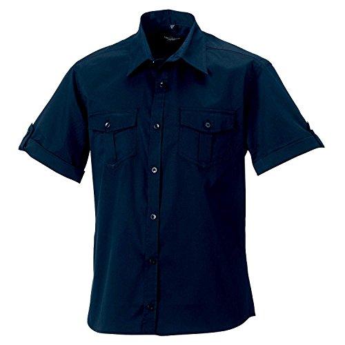 Russell Kollektion Mens Rollsleeve Kurzarmhemd - 6 Farben / SML - 4XL Black