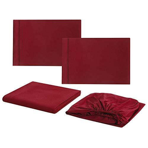 Yearnly Bettwäsche Set 4Teilig Grau 100% Weiche und Angenehme Schlafkomfort - 2 Kissenbezug 20