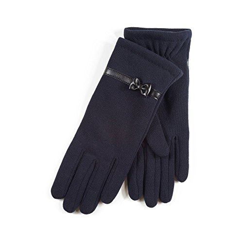 isotoner-womens-ladies-navy-thermal-gloves-with-bow-detail