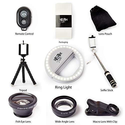 Selfie Set mit Handy Stativ, ausziehbarer Selfie Stick, 3 Objektiv Linsen inkl. Tasche, Kabelloser Fernauslöser und LED Selfie Licht