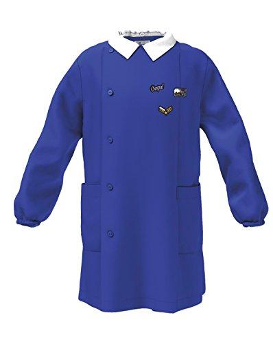 Siggi grembiule scuola linea happy school -elementare bambino colore blu-ricamo tema militare abbottonatura laterale con bottoni, colletto bianco staccabile.disponibile nelle taglia dalla 5 a 13 anni