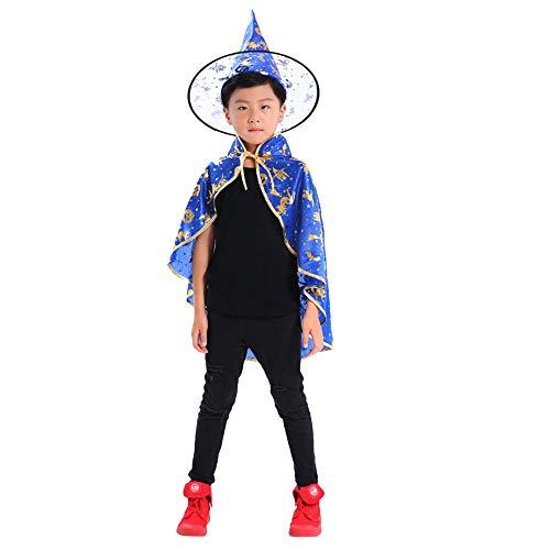 Kinder Erwachsene Kinder Halloween Baby Kostüm Zauberer Hexe Mantel Cape Robe + Hat Set