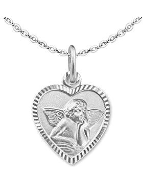 CLEVER SCHMUCK-SET Silberner Anhänger Herz 11 mm mit Engel matt Rand glänzend diamantiert - Rückseite GSD und...