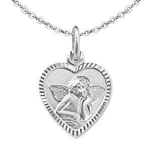 CLEVER SCHMUCK Set Silberner Mädchen Anhänger Herz 11 mm mit Engel matt Rand glänzend diamantiert – Rückseite GSD und Kette Anker 40 cm Sterling Silber 925 für Kinder