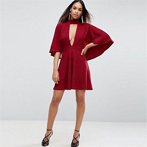 Sexy Cloak Poncho Cape Style Encolure Haute et ras de cou Demi manches Profonde Col En V Mini Courte A Line Une Ligne A-Ligne Patineuse Patineur Robe Bourgogne