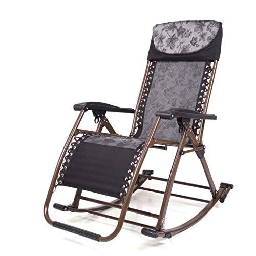 gj Fauteuil à Bascule inclinable Fauteuil à Bascule Balcon Fauteuil inclinable Adulte Pliage Déjeuner Sieste Loisir Chaise pour Personnes âgées (Couleur : Noir)