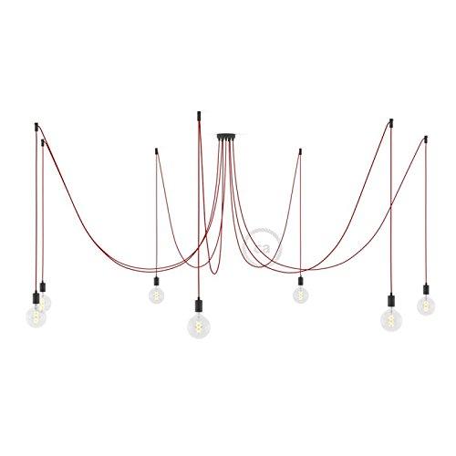 Creative-Cables Deckenleuchte Spider Metall schwarz, 7 Ausgänge, mit Kabel RM09 rot. Made in Italy. - DIY-KIT, Deckenbefestigung, Konisch -