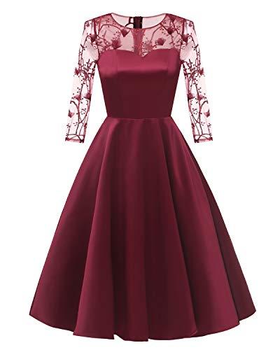 Laorchid Damen Kleider Vintage Spitzen Stickerei 3/4 Ärmel Abendkleid Brautjungfern Cocktail Hochzeit Partei Burgundy L -