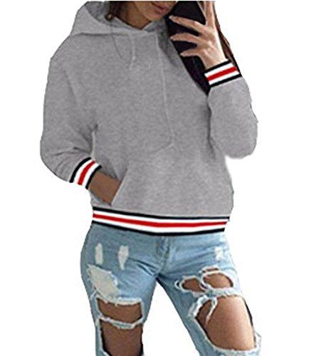 ASSKDAN Damen Kapuzenpullover Sweatshirts Hoodie Sport Oversize Outerwear Pullover Herbst (40, Grau) (Hoodie 10)