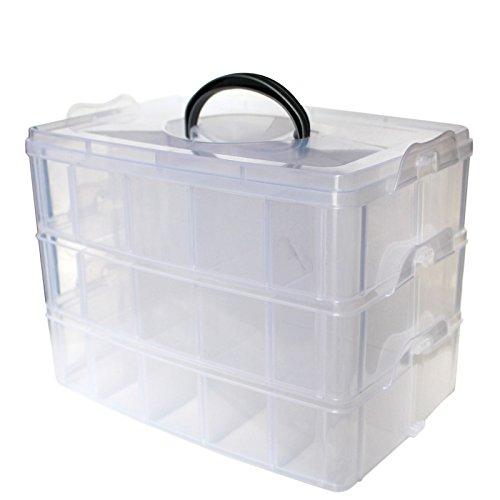 3-stöckige Aufbewahrungsbox aus durchsichtigem Kunststoff, stapelbar- für die Organisation von Nähfäden, Spulen, Perlen, Beautyzubehör, Nagellack, Schmuck, Kunst- & Handwerkzubehör - 30 Fächer (Kunststoff-knopf, Muttern)