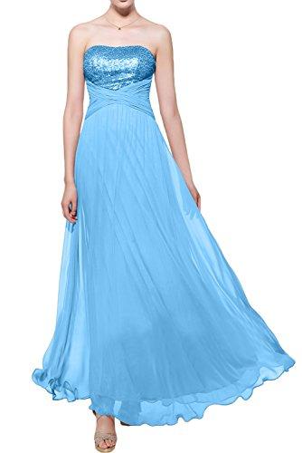 Gorgeous Bride Elegant Trägerlos Empire Chiffon Paillette Lang Abendkleider Lang Festkleider Ballkleider Hellblau