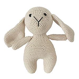 LOOP BABY – gehäkeltes Lamm Lukas – Kuscheltiere Lämmchen beige aus Bio-Baumwolle – waschbar – Häkelpuppe Lamm