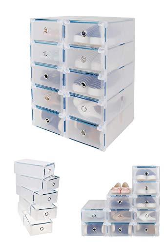 durchsichtige schuhkartons CDGroup ?10 Set?Clear Plastik Klar Kunststoff Faltbare Schuhschachtel Schuhboxen Schuhaufbewahrung Schuhkarton Stapelbox Transparent mit Deckel Aufbewahrung Schuhschachtel Schuhe Faltbare Halter